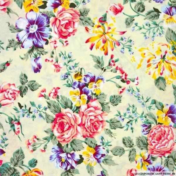 Coton imprimé bouquet fleuris jaunes fond ivoire