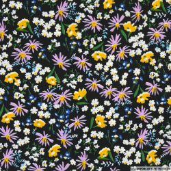 Coton imprimé fleurs mélangées fond noir