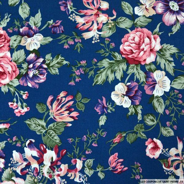 Coton imprimé bouquet fleuris roses fond bleu