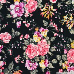 Coton imprimé bouquet fleuris roses fond noir