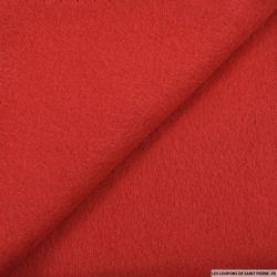 Tissu sweat minkee rouge poly-coton