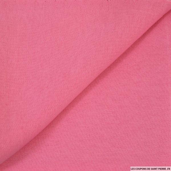 Tissu sweat minkee rose bébé poly-coton