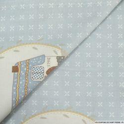 Coton imprimé with love fond bleu ciel