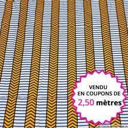 Wax africain rayures jaune, bleu et blanc, vendu en coupon de 2,50 mètres