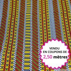 Wax africain rayures graphique jaune et rouge, vendu en coupon de 2,50 mètres