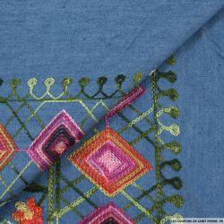 Chambray coton brodé bleu jeans
