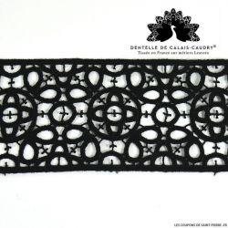Ruban de guipure de calais® noir graphique au mètre
