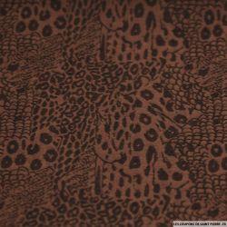 Jean's coton élasthanne imprimé serpent marron