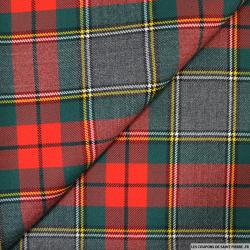Tissu de laine écossais gris et rouge