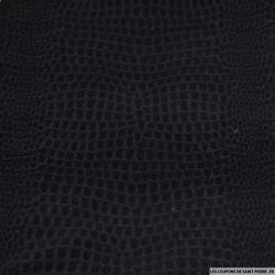 Coton élasthanne floqué crocodile noir