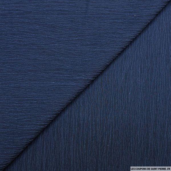 Crêpe polyester froissé bleu jeans