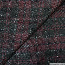Tweed polyester fantaisie lie de vin et noir