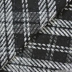 Tweed polyester à carreaux noir et blanc