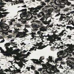 Satin de Coton élasthanne imprimé rosier noir et blanc