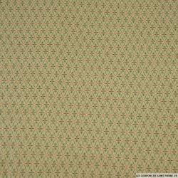 Coton imprimé quadrillage feuilles vert olive