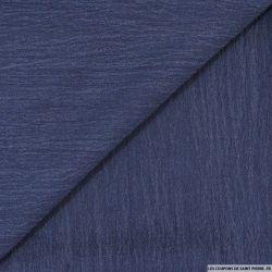 Coton froissé bleu jeans marine