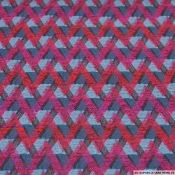 Jacquard polycoton zigzag rose et bleu
