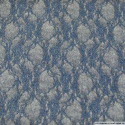 Dentelle rachel contrecollé tricot bleu et gris