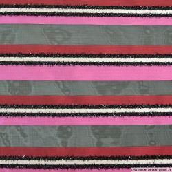 Organza polyester rayé fuchsia, rouge, blanc et noir