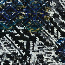 Mousseline imprimé multicolore nuance de bleu