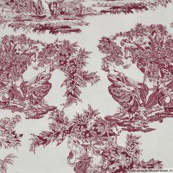Tissus Piqué de coton toile de jouy bordeaux