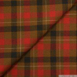 Clan polyviscose rayures rouge et noir sur fond marron
