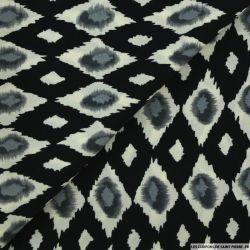 Microfibre imprimée vision floutée écru et gris sur fond noir