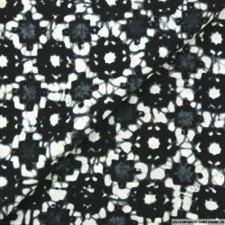 Microfibre imprimée flou gaussien noir, gris et blanc cassé