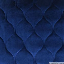 Panne de velours matelassé bleu royal