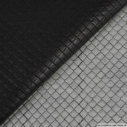 Simili cuir polyester matelassé noir