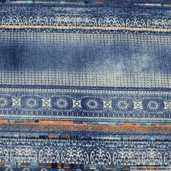 Microfibre imprimée style délavée bleu jean's