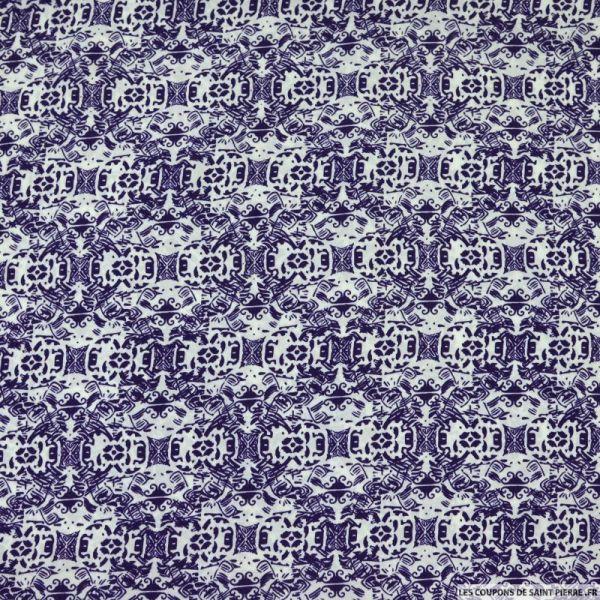 Microfibre imprimée noname violet fond blanc
