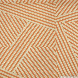 Microfibre imprimée rayure en folie orange et jaune