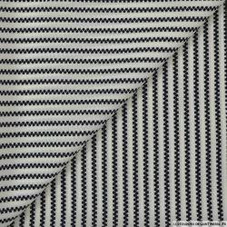 Microfibre imprimée étoiles en rayures noir sur fond écru