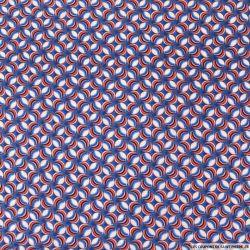Microfibre imprimée bille d'école bleu,rouge et rose