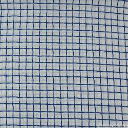 Microfibre imprimée carreaux bleu sur fond blanc