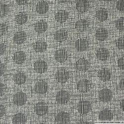 Microfibre imprimée rayure saturé noir sur fond blanc cassé