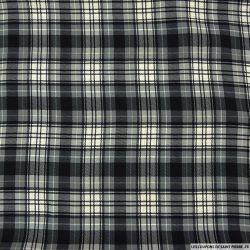 Microfibre imprimée à carreaux écru, gris et noir