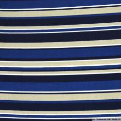Microfibre imprimée à bande bleu, noir et marron clair