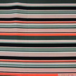 Microfibre imprimée à bande orange, noir, gris et rose