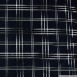 Crêpe polyester imprimé carreaux fond bleu et gris