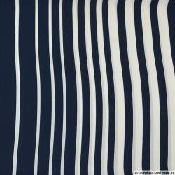 Crêpe polyester imprimé marin rayé bleu et blanc