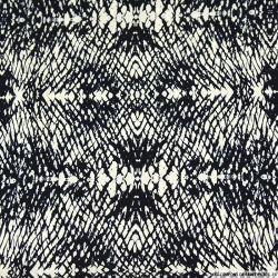 Microfibre imprimée encre effilée marine fond écru