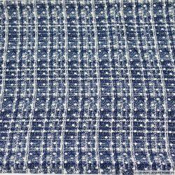 Microfibre imprimée à carreaux fantaisie bleu à pois blanc