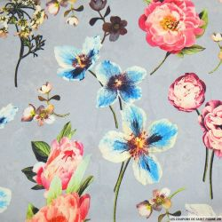 Crêpe lourd polyester imprimé jardin flottant fond bleu ciel