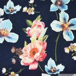 Crêpe lourd polyester imprimé jardin flottant fond bleu marine