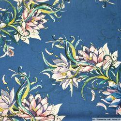 Crêpe lourd polyester imprimé aquarelle floral fond bleu turquin