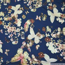 Crêpe lourd polyester imprimé envol du papillon bleu marine