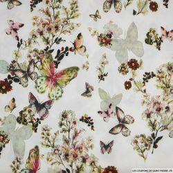 Crêpe lourd polyester imprimé envol du papillon écru