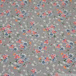 Crêpe lourd polyester imprimé petit bouquet fond grège